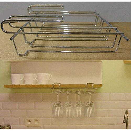 Weinglashalter Gläserschine Sektglas Glas Halter Unter-Regal verchromt 4 Schienen -