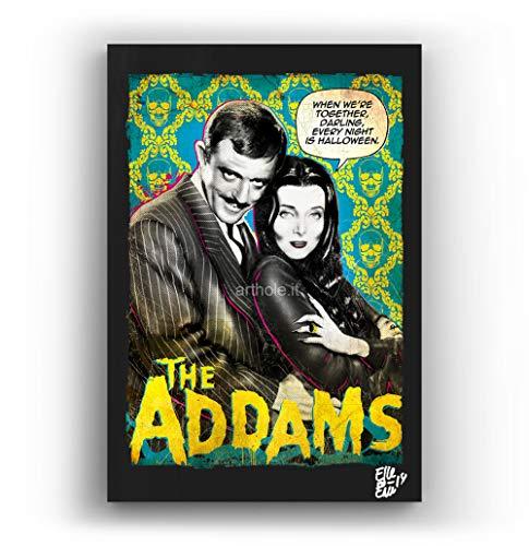 Die Addams Family - Original Gerahmt Fine Art Malerei, Pop-Art, Poster, Leinwand, Artwork, Film Plakat, Leinwanddruck, Horror, Halloween ()