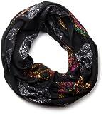 styleBREAKER Mexico Style Totenkopf Skull Muster Loop Schlauchschal 01018055 (87 x 90 cm, Schwarz)