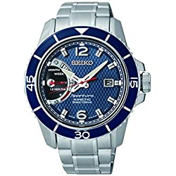 SRG017P1 Seiko Men's Automatic Watch Analogue dial with Silver Steel Strap, Blue