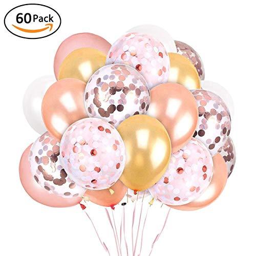 XUNKE 60 Stück Luftballons Rose Gold Konfetti Helium Ballons für Hochzeit Mädchen Kinder Geburtstag Party Deko (Rose Gold + Weiß + Gold + Rose Gold Paillettenballon)