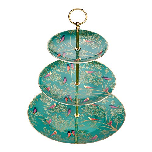Sara miller per portmeirion chelsea alzata per torte a 3piani, ceramica, verde, 280x 280x 60cm
