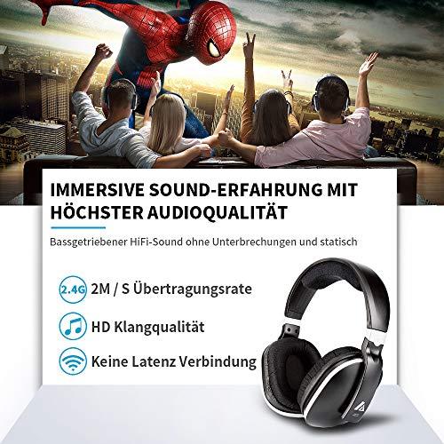 Artiste ADH300 Wireless TV Kopfhörer, 2.4GHz UHF/RF Over-Ear Digital Stereo Kopfhörer für TV, 100ft Distanz Sender Wiederaufladbare Ladestation - 4