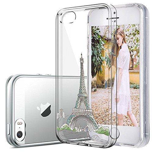 Qissy®Schutzhülle für iPhone SE /5 / 5S Hülle Case TPU Crystal Hülle Schlank Transparent Weicher Gel Silikon Handy Hülle Crystal Clear Case Sketch Design (iPhone 5/5S/SE, 4) 14