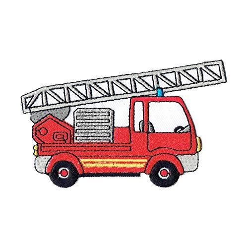 Lucky Patches, Aufnäher, Applikation, Aufbügler, Iron on Patch - Feuerwehr, Leiter Wagen, Baumeister 7 x 9,5 cm - Feuerwehr-applikationen