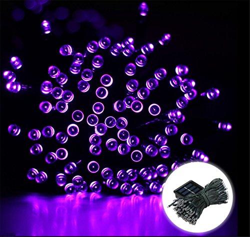 200 LED 22M Guirlandes Panneau Solaire Lampe Lumière Couleur Violet Déco Fête Noël Mariage