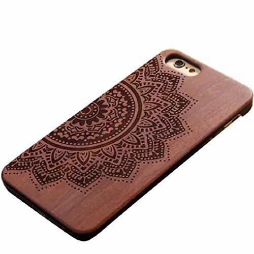 Ularma Luxe à la main sculpture bois Retro bambou bois Housse étui pour iPhone 6 4.7 pouces