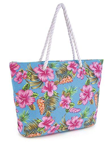 Summer Hibiscus Flower Print borse da donna, in tela, con manico in corda-Borsa a tracolla Blu (blu)