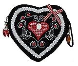 Damen Dirndltasche - Trachtentasche Herz Umhängetasche - Herztasche zum Dirndl (Herzmuster Blüte rot)