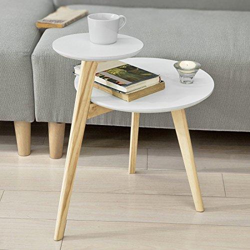 SoBuy® FBT53-WN Design Beistelltisch mit 2 Tischplatten Couchtisch Kaffeetisch Balkontisch weiß-natur, BHT ca: 40x54x47cm