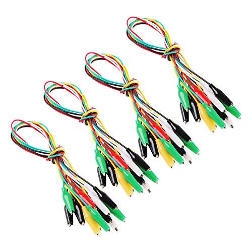 Makerstack 40 Stück Testkabel Set mit Krokodil Krokodilklemme Doppelseitige Jumper Kabel mit 5 Farben (2.7cm)