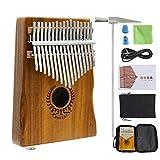 Kalimba EQ Thumb Piano 17 Keys Portable mit 6,35 mm-Lautsprecheranweisung und Melodiehammer, Kalimba 17-Aufbewahrungstasche, Gravierte Notation, Kalimba-Musikbuch, Geschenk-Musikenthusiasten Anfänger