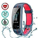 LATEC Pulsera Actividad [Última Versión], Pulsera de Actividad Inteligente Pantalla Color Reloj con Pulsómetro Impermeable IP68 Podómetroómetro-Pantalla Deslizante (Azul + Rojo)