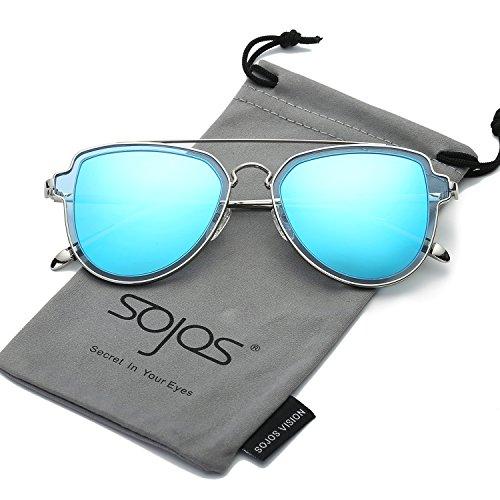 Sojos vogue retrò doppio metalloponte aviatore polarizzate occhiali da sole unisex per uomo donna sj1051 con argento telaio/blu polarizzate lente