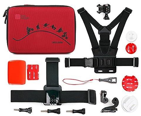 Für die GoPro Hero5 Black Action Kamera + Zubehör - Maßgefertigter Koffer inkl. Zubehör der Marke DuraGadget - Rot