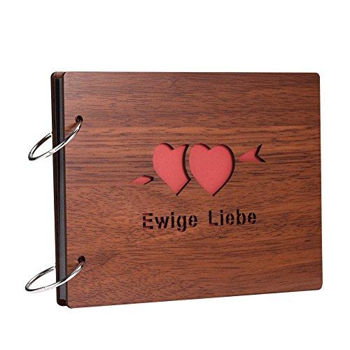 miteux Fotoalbum Zum selbstgestalten in Deutsche Schriftzeichen DIY Holz Decke Fotoalben Scrapbook Album Schwarze Seiten für Einkleben Basteln (Ewige Liebe) (Decke Holz)