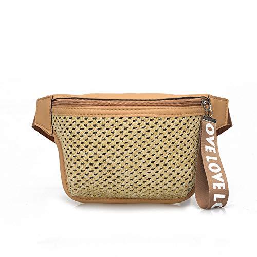 Ldyia Damentaschen, Gürtel, gewebte Strandtasche, Stroh, Modetaschen,braun - Braun Gewebt Leder Gürtel