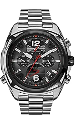 Bulova Precisionist Men's UHF Watch with Black Dial Analogue Display and Silver Stainless Steel Bracelet 98B227