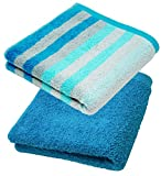 Lashuma Handtuch Set 70x140 cm, 2X Duschtücher Gestreift - Einfarbig, Farbe: Türkis - Blau