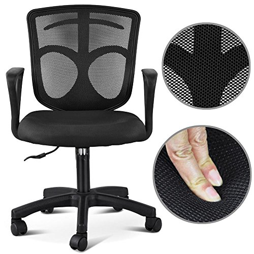 popamazing-adjustable-swivel-comfort-office-desk-chair-with-arms-fabric-mesh-seat-backrest-black