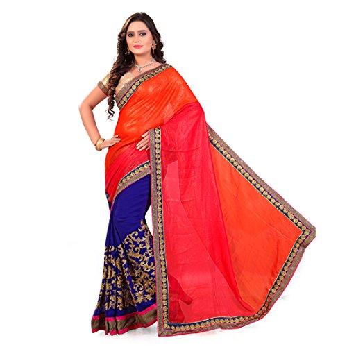 Siddeshwary Fab Silk & Georgette Saree (Orange Blue_Orange And Pink And Blue)