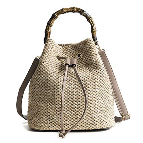 Egosy Damen Umhängetasche aus Stroh Schultertasche, Handgefertigte Tasche,Frau Strand Stroh Weaving Umhängetasche Damen Trendy Sommer Bucket Bag Handtasche -
