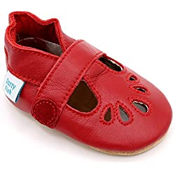 Dotty Fish - Zapatos de cuero suave para bebés - Niñas Rojo T-Bar - Tamaño 12-18 meses