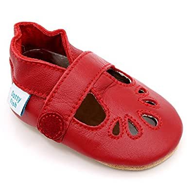 Dotty Fish Soft Leather Baby Shoes. Classic Red T-Bar Shoes for Girls. Non-Slip Suede Soles. 0-6 Months (2 UK Child)