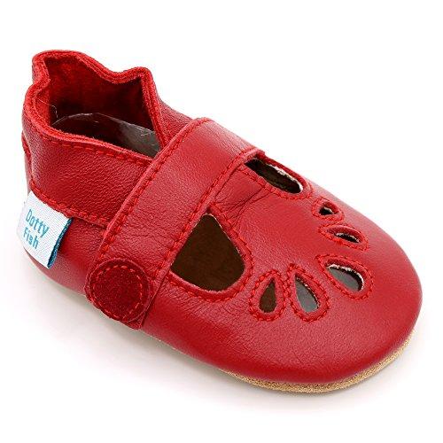 Dotty Fish Weiche Baby Lederschuhe - T-Bar Schuhe für Mädchen – Rot - 0-6 Monate - Gr. 18