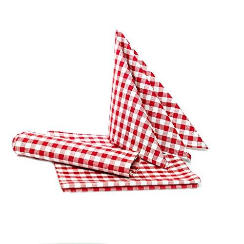 in Karo - Farbe und Größe wählbar - 100% Baumwolle (50x50 cm - 6 Stück, rot-weiß kariert) ()