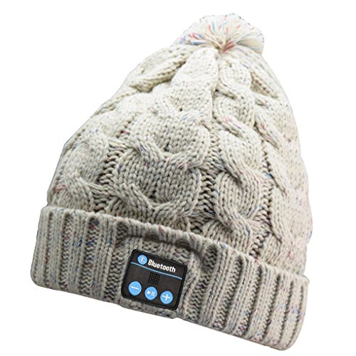 Blue ear® Bluetooth Winter Beanie Music Headset V4.1 Version Up to 8 Hours Playing Time Fitting For Outdoor Skating Walking Running... (H4 Apricot)