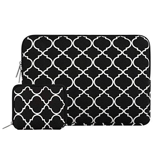 MOSISO Tasche Sleeve Hülle Kompatibel 13-13,3 Zoll MacBook Pro, MacBook Air, Notebook Computer Canvas Geometrisches Muster Laptophülle Laptoptasche mit Klein Fall, Schwarz Vierpass (Fleece-stoff Quatrefoil)