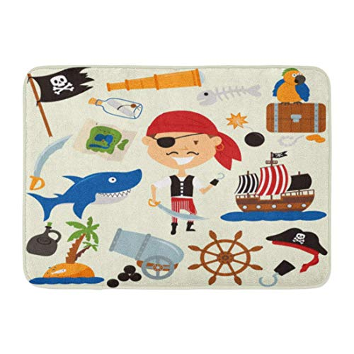 LIS HOME Fußmatten Bad Teppiche Outdoor/Indoor Fußmatte Boot süsser Boy in Piraten Kostüm und Verschiedene Papageien Teen Shark Adventure Kollektion Bombe Badezimmer Dekor Teppich Badematte