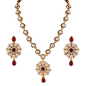 Variation Maroon Heavy CZ Bridal Jewelry Necklace Set for Women - VD14151