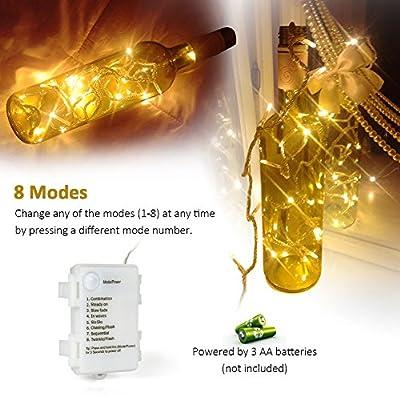 2stk 40er LED Outdoor [Timer] Lichterkette Batterienbetrieben Warmweiß (8 Modi, 5M Durchsichtigen Kabeln, 120 Stunden Betriebsdauer, IP68 Wasserdicht, Außenbeleuchtung) von Shenzhen Jin Feng Yuan Technology Co., Ltd