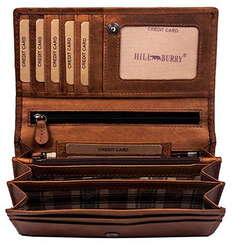 Hill burry portafoglio donna | portamonete in vera pelle di classe | portafoglio signore in pelle di qualità con un aspetto vintage | porta carte di credito - portafogli | porta banconote, marrone
