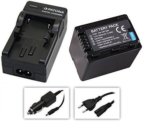 3in1-SET für die Panasonic HC-V777EG und HC-V380EG Camcorder --- Akku für VBT380 (3560mAh) + Schnell-Ladegerät für Digitalkamera / Camcorder incl. KFZ-Lader (12V) inkl. PATONA Displaypad