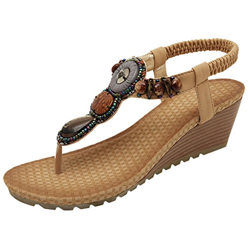 Minetom donna zeppa sandali Cinturini caviglia in stile boho estate scarpe Khaki