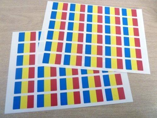 Paquete de 60 , 33x20mm , Rumanía Auto-adherente Bandera Pegatinas , Rumano autoadhesivo Bandera Etiquetas