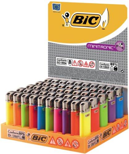 BIC Feuerzeug Minitronic J39, neutral, sortiert, 50er Packung, 1er Pack (1 x 50 Stück)