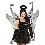 Amakando Schwarze Feenflügel Gothic Flügel schwarz 107 x 76 cm mit Glitter Feenflügel Schmetterlingsflügel Vampirflügel