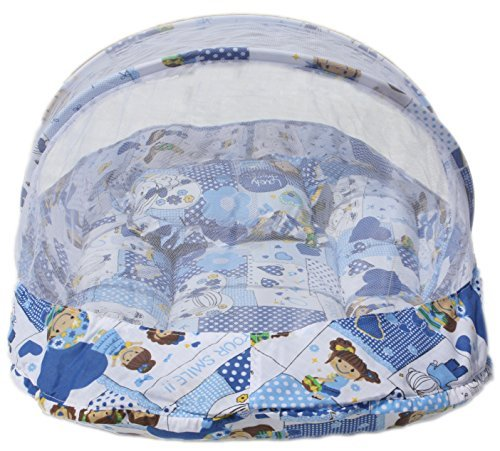 Amardeep and Co Baby Mattress with Mosquito Net (Blue) -...
