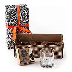 Idea Regalo - whisky Stones e occhiali set regalo. Set di 2bicchieri Elysia whisky 12PCS Chilling whisky Stones 1sacchetto regalo. Ottima idea regalo per gli amanti del whisky