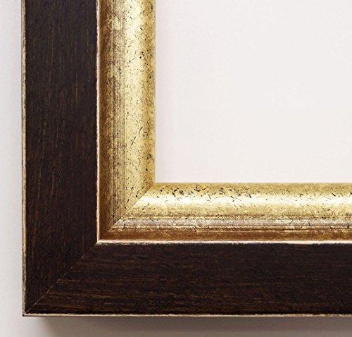 Cornice portafoto Memmingen Antico-Marrone, gola Oro 4,7, Cornice vuota senza vetro con ganci, marrone, DIN A3 (29,7 x 42 cm)