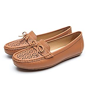 Ladies Comfortble Driving Flat Loafers - Slip On Openwork Pattern Faux Leather Moccasin Shoes for Women, Best Choice for Working and Daily Wear SH004-BROWN-39