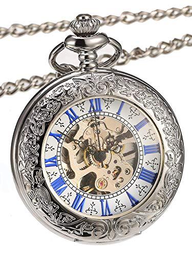 Reloj de bolsillo mecánico con tapa de lupa plateada y escala azul
