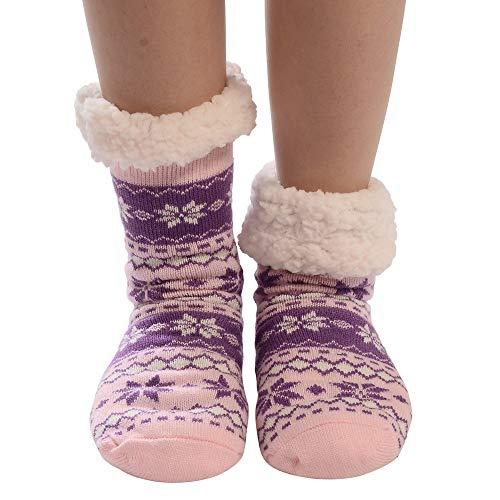 TEBAISE 1 Paar Kuschelsocken, Hausschuhsocken mit Rutschfester Sohle Warme Damen Socken Wintersocken Hüttensocken mit Anti Rutsch Noppen und Teddyfell (Beste Selbstgemacht Paar Halloween-kostüme)