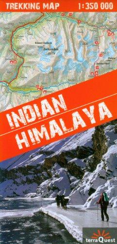 Himalaya Indio, Indian Himalaya, mapa excursionista plastificado. Escala 1:350.000. Kaszmir, Ladakh, Zanskar, Lahul, Rupshu, Spiti, Kinnaur, Garhwal, Kumaon and additional Sikim. terraQuest.
