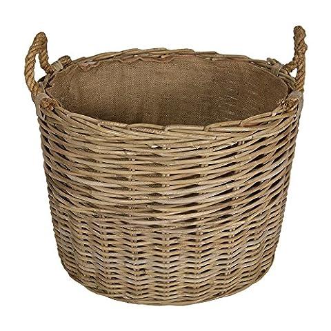Kubu Rattan Extra Large Oval Log Basket with Rope Handles / Toy Box / Wicker Bin / Gift Basket