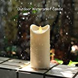Outdoor-Kerze Wasserdichte Tanzen Flamme Flickering Kerze Licht mit Timer, Wasserdicht Bewertung ist IP44, batteriebetrieben, 5 Stunden Timer, für Outdoor Garten Dekoration, Elfenbein (7 x 15,24 cm)